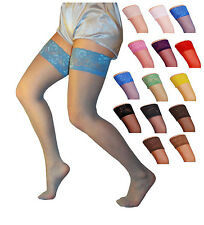 Sensuous Lace Top 20 Denier Sheer Hold-Ups,Various Colours- Sizes S-XL,stocking