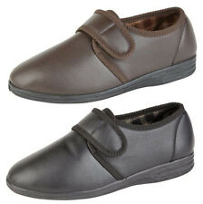New Mens Gents Leather Look Full Velcro Slippers Black Brown Size UK 7 - 12