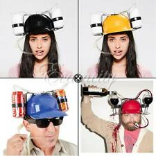 New Cool Unique Party Game Beer Soda Dual Can Straw Drinking Hard Hat Helmet Fun