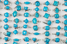 Wholesale Fashion Womens Mens Turquoise Gemstone Silver Plated Ring Jewlery