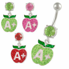 Crystal Belly bars Gem Dangle Button Navel Rings Steel Unique Body Piercing 9LZL