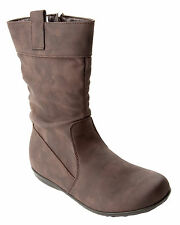 GIRLS BROWN SLOUCH MID CALF CASUAL WINTER BOOTS WITH SIDE ZIP UK SIZE 8-2