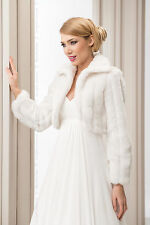 WEDDING IVORY FAUX FUR SHRUG BRIDAL BOLERO JACKET COAT LONG SLEEVE S M L XL -B20