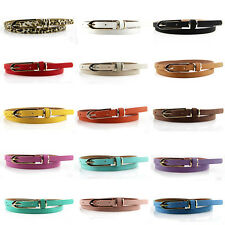 Fashion Women Lady Multicolor Waistband PU Leather Thin Skinny Belt Buckle