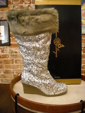 Joan Boyce Silver Sequins Fur Cuff Tall Wedge Boots NEW