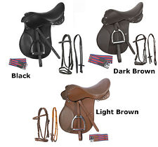 16 17 18 Leather All Purpose English Riding Saddle Irons Stirrups Package Set