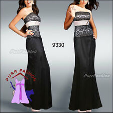 Black Strapless Lace Slit Empire Line Formal Maxi Evening Long Dress UK 8-18