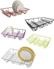 METAL WIRE DISH DRAINER PAINT COATED PLATE CUTLERY RACK UTENSILS HOLDER LARGE