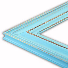 Wide Distressed Aqua Picture Frame-Solid Wood