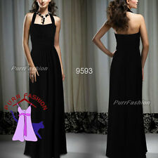 09593 Halter Black Ruffles Padded Empire Line Evening Long Dress Size 8-18