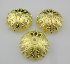 Free ship 100/500pcs Plated Gold/Silver Metal filigree End Bead Caps 12mm