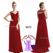 09672 Chiffon Dark Red V-Neck Empire Line Maxi Prom Evening Long Dress UK 8-18
