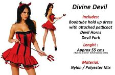 Red and Black Naughty Sexy Devil girl Halloween Party Fancy Dress COSTUME