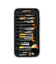 Beauty Black Makeup Brushes Set Rubber Silicone Case For iPhone 6 4 4S 5 5S 5C