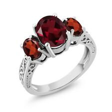 3.30 Ct Oval Red Rhodolite Garnet Garnet 14K White Gold 3-Stone Ring
