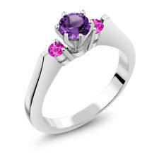 0.61 Ct Round Purple Amethyst Pink Sapphire 925 Sterling Silver 3-Stone Ring