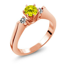 0.68 Ct Round Canary and White Diamond 925 Rose Gold Plated Silver 3-Stone Ring