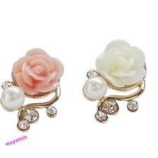 New Fashion Korean Rose Flower Shiny Crystal Rhinestone Imitation Pearl  Earring