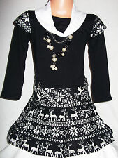 GIRLS BLACK & WHITE FAIR ISLE PATTERN WINTER PARTY DRESS with NECKLACE