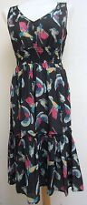 Ladies Black Bird Printed Detail Sleeveless Dress