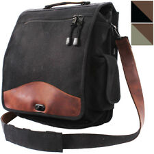 Vintage Military M-51 Bag Engineers Canvas Shoulder Bag w/ Brown Leather Accents