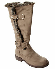 WOMENS TAUPE FAUX FUR TRIM SLOUCH KNEE LENGTH WINTER BOOTS LADIES UK SIZE 3-8