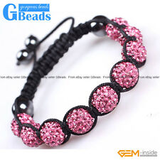 10mm Rhinestone Czech Crystal Ball Fashion Jewelry Bracelet Adjustable Size 6-8""