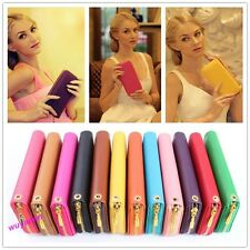 Stylish Lady's PU Wallet Clutch Long Handbag For Iphone Galaxy HTC 12 Colors