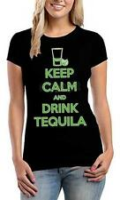 Keep Calm and Drink Tequila / Ladies Fitted Black T-Shirt / Sizes - S,M,L,XL