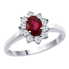1.11 Ct Natural 6x4mm Oval Red Ruby and White Diamonds 14K White Gold Ring