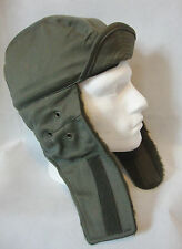 """BRAND NEW French Army surplus COLD WEATHER WINTER HAT Olive Green """"TRAPPER"""""""