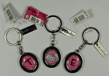 Hello Kitty NEW Keyring Personalised with initial Pink and Silver Oval Swivel