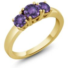 0.95 Ct Round Purple Amethyst 925 Yellow Gold Plated Silver Ring