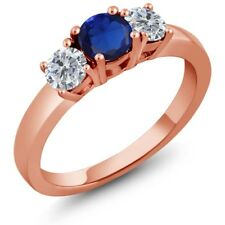 1.05 Ct Round Simulated Sapphire G/H Diamond 925 Rose Gold Plated Silver Ring