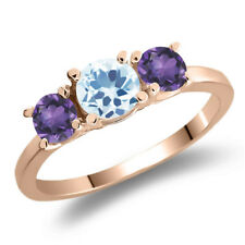 1.20 Ct Round Sky Blue Topaz Purple Amethyst 925 Rose Gold Plated Silver Ring