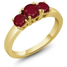 1.16 Ct Round Red Ruby 14K Yellow Gold Ring