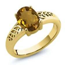 1.40 Ct Oval Whiskey Quartz 18K Yellow Gold Plated Silver Ring