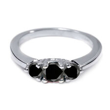 0.71 Ct Round Black AAA Diamond 18K White Gold 3-Stone Ring