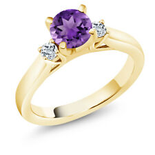 0.98 Ct Purple Amethyst White Topaz 18K Yellow Gold Plated Silver 3-Stone Ring