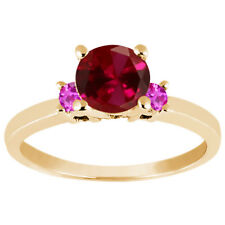 1.16 Ct Round Red Created Ruby Pink Sapphire 925 Yellow Gold Plated Silver Ring