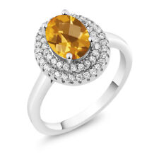 2.45 Ct Oval Checkerboard Yellow Citrine 925 Sterling Silver Ring