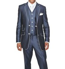 Men's Slim Fit Suits Set Wool Feel with pants and vest included Navy 5702