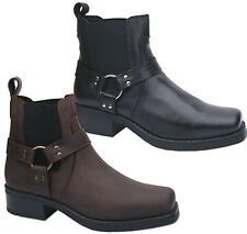 Mens New Black Brown Leather Harley Cowboy Western Biker Boots Free UK Postage