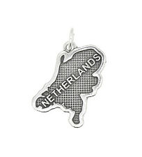 SILVER TEXTURED MAP OF EUROPEAN COUNTRY CHARM OR PENDANT