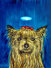 yorkie yorkshire terrier dog angel art PRINT animals impressionism artist PRINTS