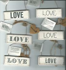LOVE - wooden plaque in distressed vintage style paint finish 6 designs