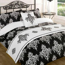 Kate Black White Floral Duvet Quilt Bedding Bed in a Bag Cushion Cover Runner