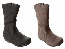 NEW GIRLS SLOUCH MID CALF CASUAL WINTER BOOTS WITH SIDE ZIP UK SIZE 8-2