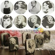 Monroe Or Hepburn Iron Tin Storage Bag Jewelry Gift Boxes Random Choose