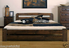 SOLID WOODEN BEDROOM FURNITURE*PINE DOUBLE BED 140/200cm/IKEA SIZE/Walnut COLOUR